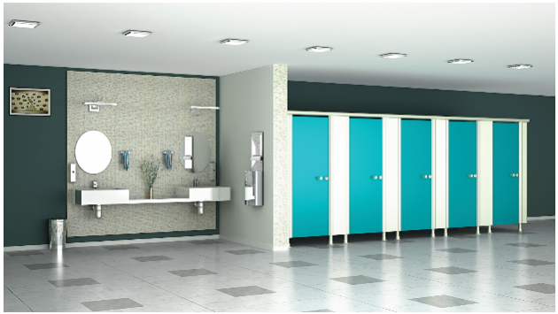 Toilet cubicles and storage locker system by Greenlam Sturdo